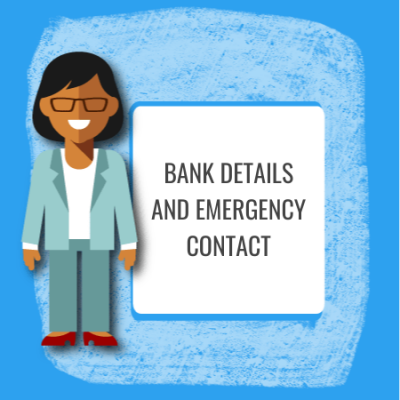 bank details and emegency contact