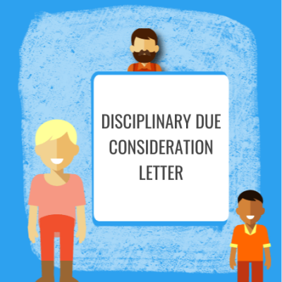 disciplinary due consideration letter