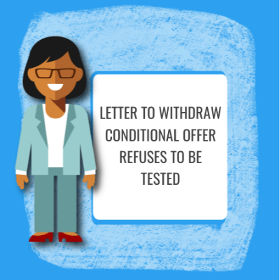withdraw conditional offer drug test refused