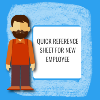 quick reference sheet for new employee